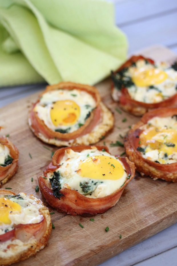 Bacon nests with egg, spinach and feta